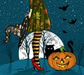 Halloween night. Witch with wizard hat in hand, black cat and pumpkin, big moon on background