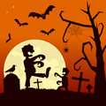 Halloween night with zombies scene background the moon over a scary cemetery walking and bats flying eps file available Stock Image