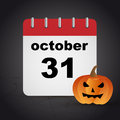 Halloween october calendar day with a pumpkin on dark background with spider web for Royalty Free Stock Photography
