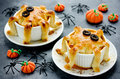 Halloween octopus pot pie. Tentacle pot pies. Portion pot pies w Royalty Free Stock Photo