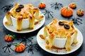 Halloween octopus pot pie. Tentacle pot pies. Portion pot pies w Royalty Free Stock Photo