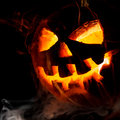Halloween old jack o lantern on black background Royalty Free Stock Image