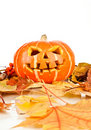 Halloween, old jack-o-lantern on white Royalty Free Stock Photography