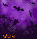 Halloween ominous background with pumpkins bats ghost illustration Royalty Free Stock Photo