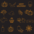 Halloween orange color outline icons set