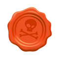 Halloween orange wax seal with crossbones. Royalty Free Stock Photo