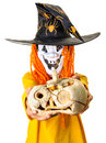 Halloween outfit boy jack o lantern pumpkin with mask and with in hands isolated on white Royalty Free Stock Photos
