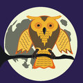 Halloween owl cartoon at night Royalty Free Stock Images