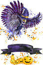 Halloween owl and witch hat. Watercolor illustration background for the holiday Halloween. watercolor splash texture background. H