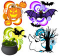 Halloween pack pumpkin vampires witch and ghost Royalty Free Stock Photography