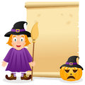 Halloween Parchment with Cute Witch Royalty Free Stock Photo