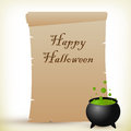 Halloween parchment illustration of a for with a witch cauldron Stock Photo