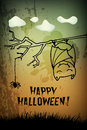 Halloween party background design spooky night invitation with a cute bat and a spider Stock Photography