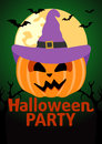 Halloween party banner with pumpkin vector Royalty Free Stock Photo