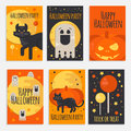 Halloween party banners, cards and posters in flat style Royalty Free Stock Photo