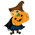 Halloween party boy holding pumpkin. jack lantern Stock Photography