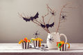Halloween party decorations with spiders and candy Stock Image