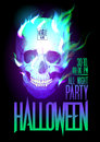 Halloween party design with skull in flames and place for text eps Royalty Free Stock Image