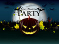Halloween party with evil pumpkin under the moon a devilish lively and bats burning eyes Royalty Free Stock Photography