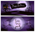 Halloween party flyers with spooky castle