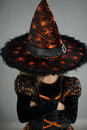 All Hallows Eve. Beautiful girl 8-9 years in image the evil sorcerers.