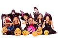 Halloween party with group kid holding carving pumpkin children isolated Royalty Free Stock Images