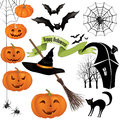 Halloween party icons vector set design holiday elements symbols isolated on white background night background Stock Photography