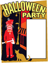 Halloween party invitation in the city with this fun retro illustration useful in a variety of applications a full page ad Stock Photo