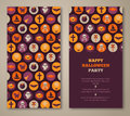 Halloween party invitation with holiday flat icons in circles Royalty Free Stock Photo