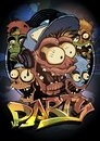 Halloween party poster design with zombie monsters crowd Royalty Free Stock Photo