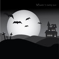 Halloween party poster horror night bats and cemetery background full moon Stock Images