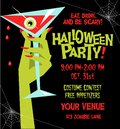 Halloween party poster template with monster hand holding martini glass filled with blood Royalty Free Stock Photo