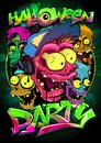 Halloween party poster with zombie crowd, hand drawn graphic banner Royalty Free Stock Photo
