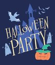 Halloween party. A scary castle, pumpkin, ghosts and bats are painted on a color poster Royalty Free Stock Photo