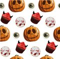 Halloween party seamless pattern with desserts