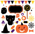 Halloween party set cute design elements vector illustration Stock Image