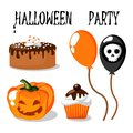 Halloween party set with food balloons pumpkin and skull funny Royalty Free Stock Photos