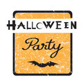 Halloween party stamp hand drawn illustration of an elegant grungy seal vintage design element isolated on white Royalty Free Stock Photos