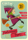 Halloween party with witch retro invitation in vintage style cartoon character illustration Stock Photos