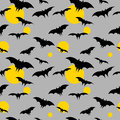Halloween pattern vector seamless with bat and moons festive wrapper background Royalty Free Stock Photo