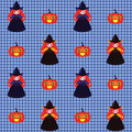 Halloween pattern with witches and pumpkins Royalty Free Stock Images