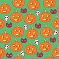 Halloween pattern woth skulls, pumpkins and black cats. Royalty Free Stock Photo