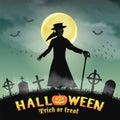 Halloween plague doctor in a night graveyard