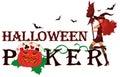 Halloween poker banner with pumpkin