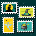 Halloween postal stamps Stock Images