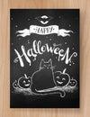 Halloween postcard chalked design
