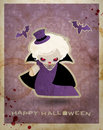 Halloween postcard with cute little vampire Royalty Free Stock Image