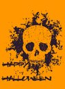 Halloween poster with grunge skull Royalty Free Stock Photo