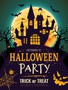 Halloween poster. Scary party invitation flyer template with horror symbols pumpkin bones skull vector halloween