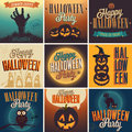 Halloween posters set vector illustration Stock Images